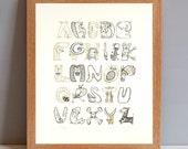 Animal Alphabet Poster, New Baby Gift Print, Children's Animal Gift Print, Baby Shower Gift, New Baby Nursery Wall Art