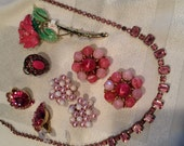 Pretty in pink vintage jewelry rhinestones, pearls, enamel destash wedding