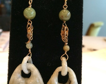 Boho style green jadite dangle earrings