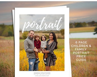Portrait Photography Price Guide, Photoshop Marketing Template for Children and Family Photographers, PG102, INSTANT DOWNLOAD