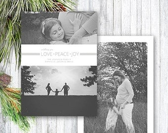 Christmas Card Template, Photoshop Template, Family Christmas Holiday Card, Peace Love Joy Christmas Card for Photographers CC106