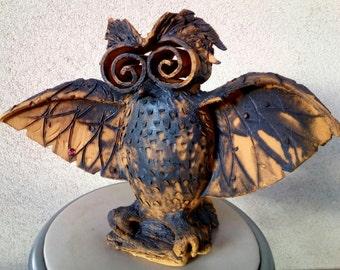 Big owl , home decor , stoneware sculpture  . Symbol of wisdom.