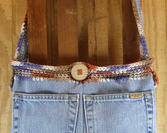 Upcycled Jeans, Messenger Bag, denim purse, recycled jeans bag, shoulder bag, crossbody bag, boho bag purse, hippie bag, gypsy bag, handmade