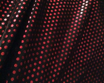 Black Red Spot Jersey Lame Fabric x one metre