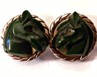 Vintage Green Bakelite Carved Horse Chrome Earrings Screwback Art Deco RARE Small