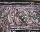Hmong Vintage Tribal Indigo Batik  Hand Dyed And Embroidered Folk Art