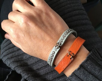 Urban Boho Handmade Rigid Cuff Bracelet, Orange and Cement Stitch, Womens Contemporary Jewelry, Artisan Clay, 30, 40, 50, 60 years old Gift