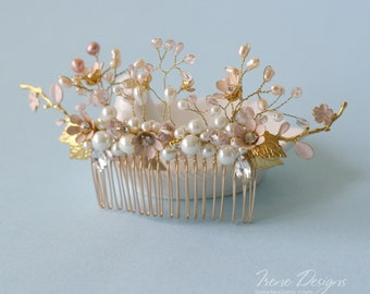 wedding gold pale pink wedding comb, bridal headpiece wedding head piece