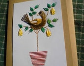 Partridge in a Pear Tree, Hand Stitched Christmas Card