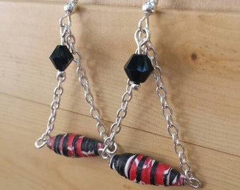Red & black paper bead earrings