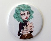 Clover - 2.25 inch Pocket Mirror - Inspired by Pastel Hair, Rockabilly, Steampunk, Piglets, and Strawberry Shortcake