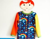 Children's long sleeve top, rainbows HANDMADE TO ORDER