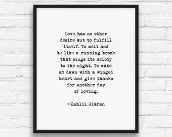 Kahlil Gibran LOVE quote, Love Poetry Art, Typewriter quote, Love Print, Black and white, Typewriter art, Love art printable, Printable Art