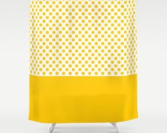 36 colours, Retro Polka Dots Pattern Shower Curtain, bathroom shower curtains, Crocus yellow and white polka dot pattern bathroom decor