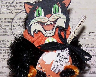 Handmade Ornament,Vintage Halloween,Halloween Ornament,Hallowee,Feather Tree Ornament,Scary Cat,Toffee Apple,Delicious But Deadly,Black Cat