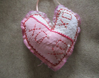 Handmade Heart XO Love Pink White Red from a Vintage Quilt Embroidery Embroidered Up-cycled, Re-purposed Ornament Decor Ornie  Valentine