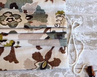 Custom Flat Roman Shade Window Treatment   Designer Quality   Silsila Floral