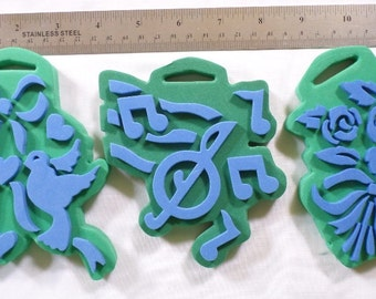 Chunky Bird Rose Bouquet Music Notes Stamp pads