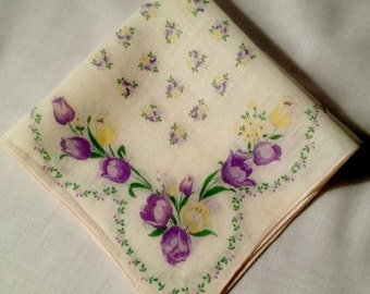 Vintage Yellow Cotton Handkerchief with Purple and Yellow Flowers Scallop Design