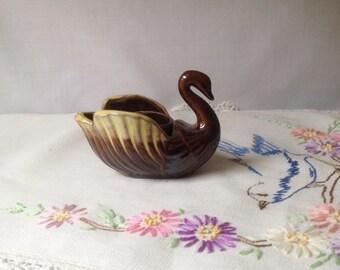 Vintage Redware Brown Drip Glazed Swan Candle holder