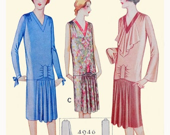 1920s Style V Neck Drop Waist Dress with Shirred Front Skirt Custom Made in Your Size From a Vintage Pattern