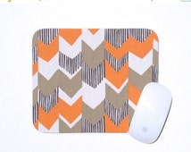 Orange and Gray Chevron Mouse Pad / Home Office Decor / White Rust Grey / Slightly Smitten Kitten