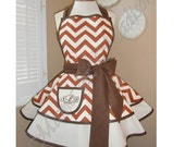 Fall Inspired Chevron Print Accented with Solid Brown Womans Retro Apron With Tiered Skirt And Bib...Featuring Custom Monogrammed Pocket