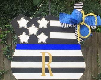 Police Badge Door Hanger, Police Officer Door Hanger, Law Enforcement, First Responders, Stars and Stripes, All Lives Matter, Back The Blue