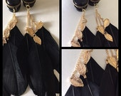 PICK SIZE Black Pearl Feather Gold Leafs Bohemian Girly Ear Guages Dangle Plugs