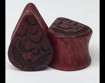 Bloodwood Bats Tear Drop Wood Laser Engraved Plugs