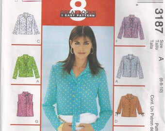 Shirt With Front Darts Sleeveless Short Or Long Sleeves Size 6 8 10 Blouse Sewing Pattern 2001 McCalls 3187