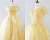 Vintage 1950s Yellow Prom Dress // 50s Belle Golden Formal Gown
