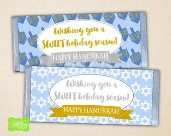 Hanukkah Chocolate Bar Wrapper - Hanukkah Candy Bar Wrapper -  Printable Wrapper - DIY Candy Wrapper - Instant Download