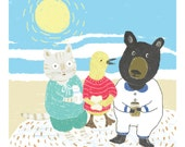 Print  {Children's Illustration} 21cm x 24cm: Little Duck with New Friends Cat and Black Bear Sharing Honey, Milk and Bread