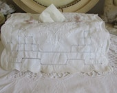 Antique, vintage French white hand embroidered, hand made tissue box cover.