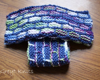 Knitted Brick Washcloths in a Set of 2