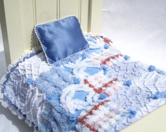 Doll Quilt Small Doll Blanket Blue Doll Quilt Patchwork Car Seat Blanket Lovey Small Doll Quilt Vintage Chenille Quilt Miniature Quilt