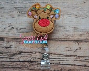Holiday-Lanyard-Christmas-felt badge reel-name badge holder-ID holder-retractable badge reel-Reindeer Christmas Lights-badge clip-badge pull