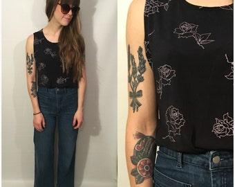 Vintage 90s Black Rose Tank Top Long Goth Grunge Shirt Blouse Flowers Size Medium / Large