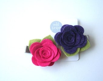 Flower Hair Clips in Pink and Purple