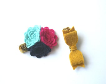 Flower and Bow Clip Set