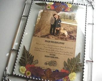 Glass Art|Framed Wedding Invitation|Pressed Flower Art|Wedding Keepsake|Weddings|Gifts & Mementos|Keepsake|Handcrafted|Made in USA