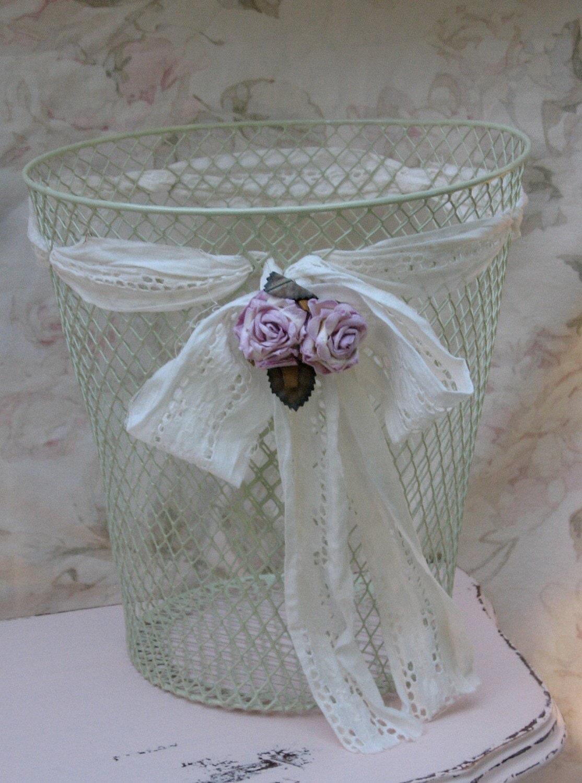 Shabby chicken wire mesh basket shabby mint green paint - Shabby chic wastebasket ...