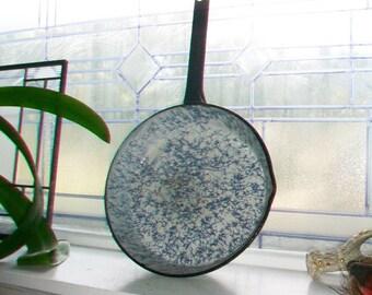 Graniteware Frying Pan Robins Egg Blue Vintage Enamelware 1920s