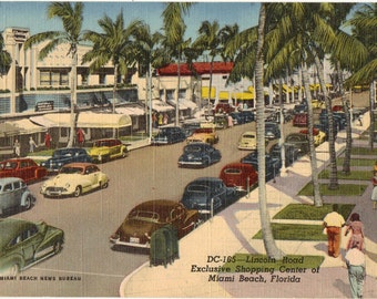 Linen Postcard, Miami Beach, Florida, Lincoln Road, Exclusive Shopping Center, ca 1950
