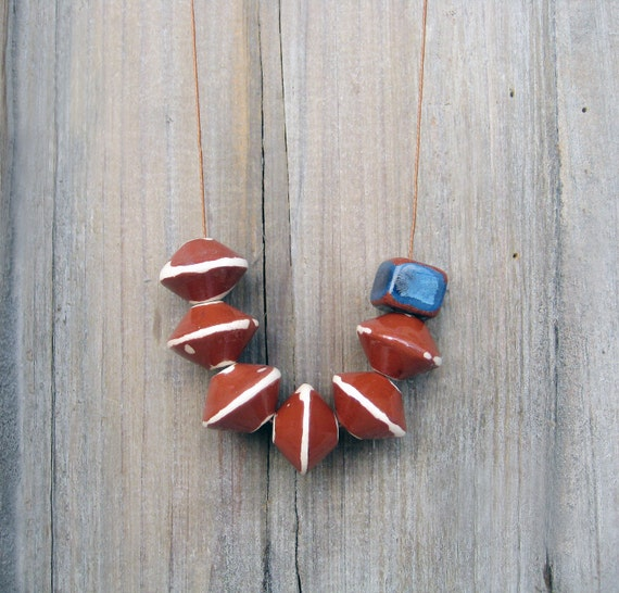Brown Ceramic Necklace, Brown And Blue Necklace, Long Necklace