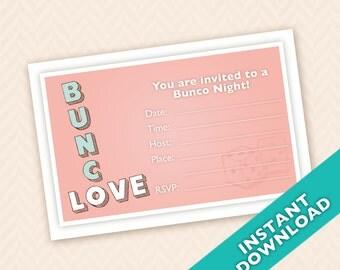 Downloadable Valentines Bunco Love  - Bunco Invitation