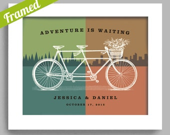 Wedding Gift for Couple Newlyweds Unique Engagement Gift Bicycle Art Outdoor Couple Framed Wedding Decor Gift Bicycle for Two Tandem Bicycle