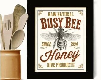 Great Honey Bee Baker Gift Kitchen Art Print Beekeeper Homemade Honey Cooking Art  Beehive Busy Bee Vintage