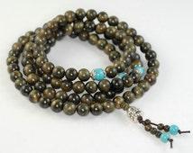 8mm 108PCS Natural Phoebe Gold Cat Eye Wood Prayer Buddha Mala Meditation Beads Round Loose Beads BULK LOT (90182455-392)